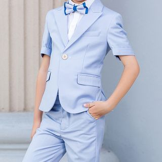 Snow Castle - Kids Shirt / Elbow-Sleeve Blazer / Cropped Dress Pants / Plain Vest / Bow Tie
