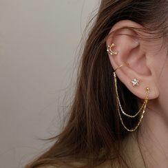 Honne - 月亮及星星水鑽純銀不對稱耳環 / 鏈條耳掛