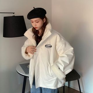Closette - Letter Print Fleece Zip Jacket