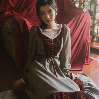 Glaypio - V-Neck Plaid Long-Sleeve A-Line Dress