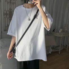 ChouxChic - Elbow-Sleeve Plain T-Shirt