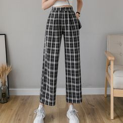 Ewane(エーワン) - Plaid Cropped Wide-Leg Pants