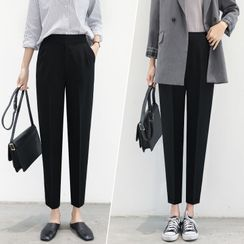 ERNICE - High-Waist Cropped Tapered Dress Pants