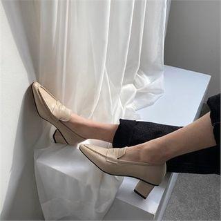 MONOBARBI - Block-Heel Pointy Penny Loafers