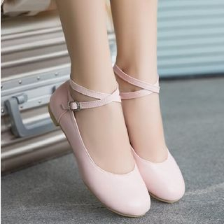 Freesia - 交叉带玛莉珍平跟鞋