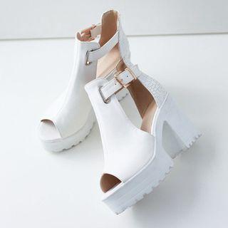 Megan - Peep-Toe Platform Chunky Heel Sandals