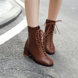 Megan - Faux Leather Block Heel Short Boots