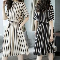 Carmenta - Elbow-Sleeve Striped A-Line Dress