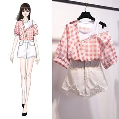 Termane - Mock Two-Piece Short-Sleeve Gingham Shirt / Ripped Denim Shorts / Set