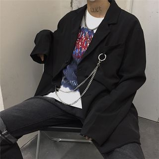 Koiyua - Chained Single-Breasted Blazer / Straight-Fit Dress Pants