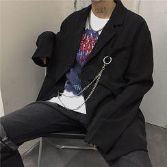 Koiyua - Chained Single-Breasted Blazer / Straight-Fit Dress Pants