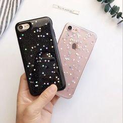 Cellfie - Sequined Transparent Mobile Case - iPhone XS Max / XS / XR / X / 8 / 8 Plus / 7 / 7 Plus / 6s / 6s Plus