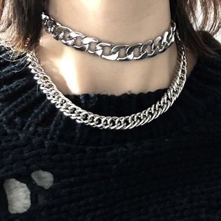 PANGU - Stainless Steel Chunky Chain Layered Choker Necklace