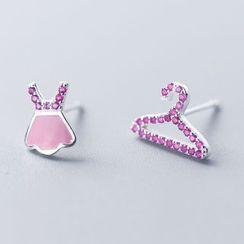 A'ROCH - Non-matching 925 Sterling Silver Rhinestone Miniature Dress & Hanger Earring