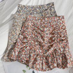 Oneiroi - Flower Print Ruffle Hem Mini Pencil Skirt