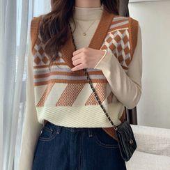 Unyverso - V-Neck Patterned Cropped Sweater Vest
