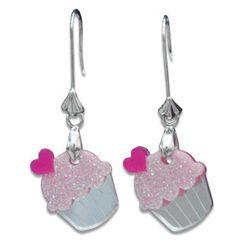 Sweet & Co. - Sweet Glitter Pink Mirror Cupcake Silver Earrings