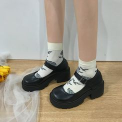 Putcho - Faux Leather Platform Mary Jane Shoes