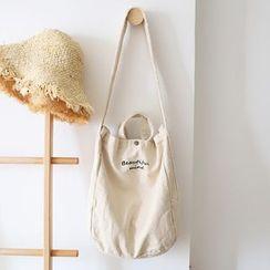 Ms Bean - Lettering Canvas Crossbody Bag