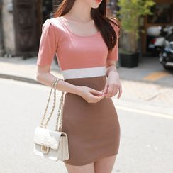 MyFiona - Color-Block Bodycon Knit Dress