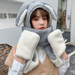 Kalamate(カラメイト) - Rabbit Ear Wool Hooded Scarf with Mittens