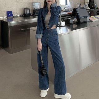 Windflower - Cropped Denim Jacket / High-Waist Wide-Leg Jeans