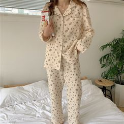 Gecko - Pajama Set: Floral Print Shirt + Lounge Pants