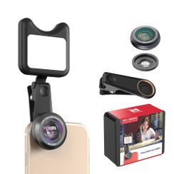 APEXEL - Rechargeable Mobile Clip On Lens with LED Light
