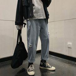 Soulcity - 宽腿破洞牛仔裤