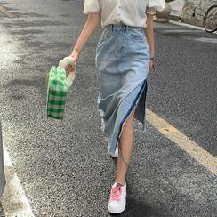 Piwonia - 高腰开衩牛仔裙