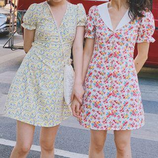 TOHADA - Floral Short-Sleeve A-Line Dress