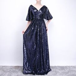 Sennyo - Sequined Elbow Sleeve Evening Gown