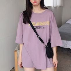 Only Here - Lettering Elbow-Sleeve Tunic T-Shirt