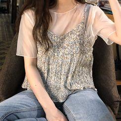 Shinsei - 套装: 短袖雪纺上衣 + 碎花吊带背心