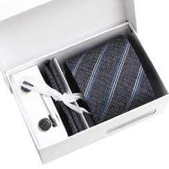 Seaton(シートン) - Set of 6: Striped Neck Tie + Cufflinks + Tie Clip + Pocket Square