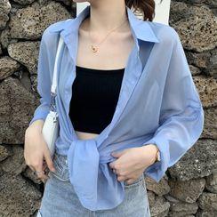 Dute - Long-Sleeve Sheer Shirt / Camisole Top
