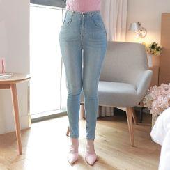 MyFiona - High-Waist Washed Skinny Jeans