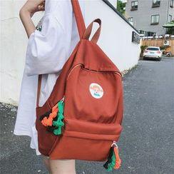 Szeta - Doll Print Pocket Detail Lightweight Backpack