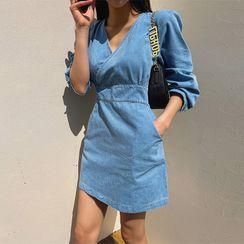 LIPHOP - Wrap-Front Tie-Back Denim Minidress