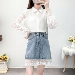 Petit Lace - Set: Lace-Panel Shirt +  A-Line Denim Skirt