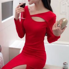 Yilda - Cutout Long-Sleeve Midi Sheath Dress