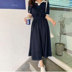 minaga - Short-Sleeve Collared Midi A-Line Dress