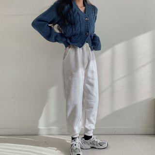 MERONGSHOP - Drawstring Napped Jogger Pants