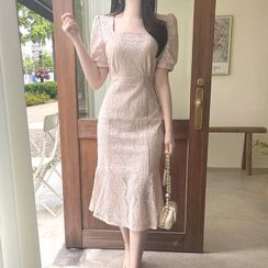 MyFiona - Square-Neck Lace Long Mermaid Dress