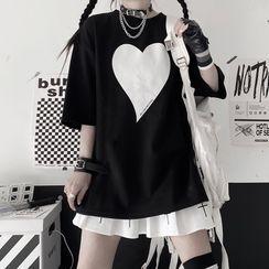 LINSI - Elbow-Sleeve Heart Print T-Shirt