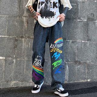 Banash(バナッシュ) - Rainbow Print Straight-Cut Jeans