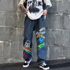 Banash - 彩虹印花直筒牛仔褲