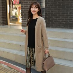 CLICK - Open-Front Long Knit Cardigan