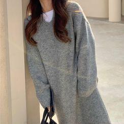 Rerise - Midi Knit Hoodie Dress