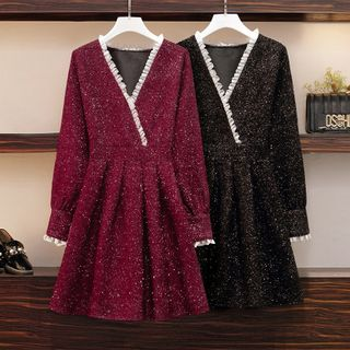 Sugar Town - Long-Sleeve V-Neck Tweed Mini Dress